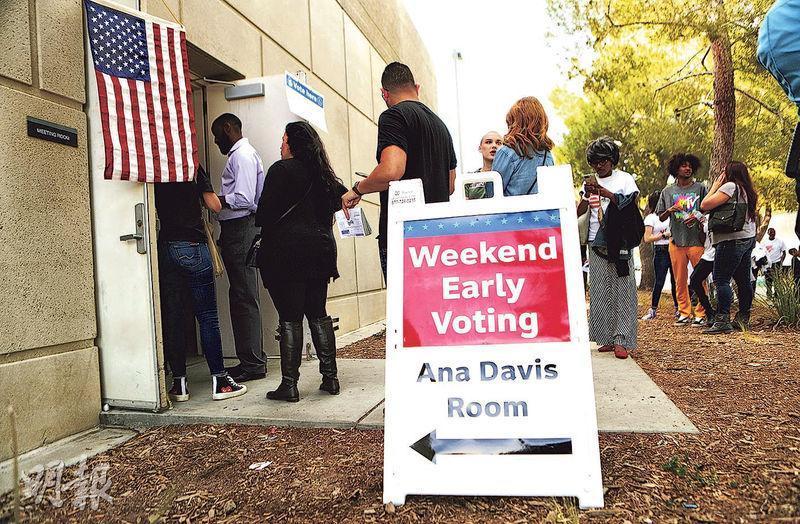 加州蘭開斯特的選民周日(4日)排隊提前投票。(法新社)