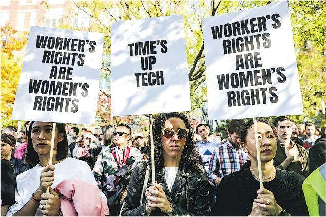 Google約2萬名職員本月1日在50個地點集體上街,抗議公司不夠着力對付性騷擾等問題。(路透社)