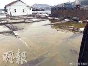 事發後,受影響的養殖戶池塘有一層黃色油污。(網上圖片)