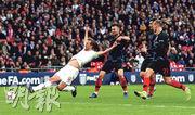 英格蘭隊憑哈利卡尼(左一)末段搶點近門建功,以2:1力挫克羅地亞隊,取得歐國聯A4組首名出線,相反克軍則包尾降班。(Getty Images)