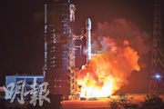 中國19日凌晨以「一箭雙星」方式,成功發射北斗三號系統第十八、十九顆組網衛星。(新華社)