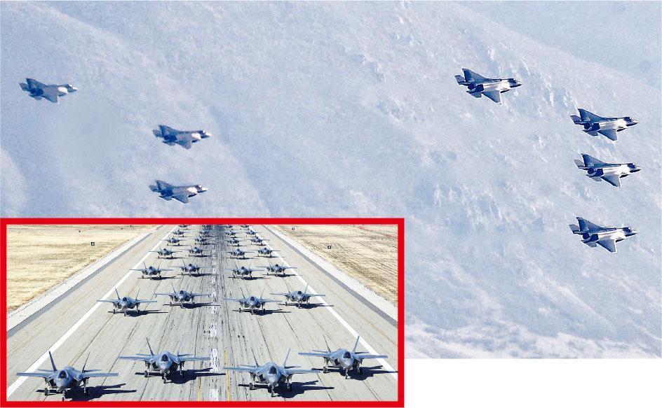 美國新式F-35A戰機周一聯合在猶他州希爾空軍基地起飛演習。(法新社)