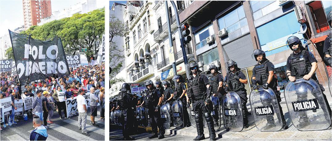布宜諾斯艾利斯周三有團體舉行反G20示威(左圖),當天市內有大批防暴警察駐防(右圖),以防生亂。(路透社)