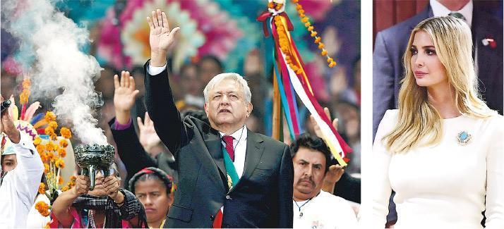 洛佩斯(左圖中)上周六宣誓就任墨西哥總統。美國第一千金伊萬卡(右圖)代表父親觀禮,並在總統演說談及與特朗普關係友好時,一度起立致意。(路透社、法新社)