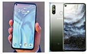 中國華為和韓國三星周一同時發布配有「熒幕打孔」鏡頭的手機。左為華為的HONOR View 20(V20),右為三星的A8s。(網上圖片)