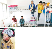 去年初頭頂冰霜返學的「冰花男孩」王福滿(小圖),受到各方關注。一年過去,王福滿搬到新家,上學路程從一小時變成10分鐘,但他還是選擇和同學一起住進新校舍。圖為王福滿坐在碌架床上層,和同學合影。(網上圖片)