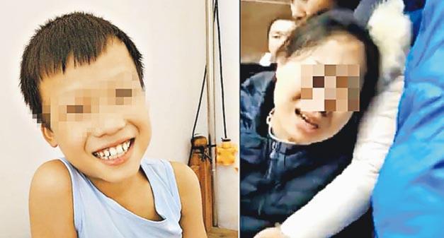 左圖為12歲死者賀×濤,右圖為死者家屬。(網上圖片)