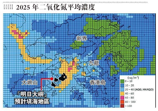 健康空氣行動引述空氣質素指標檢討小組文件顯示,政府預測2025年全港二氧化氮濃度最高的地區(橙色部分)集中在西面,與「明日大嶼」部分選址重疊(黑色部分),料該項目要通過環評有難度。(健康空氣行動提供)