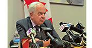 加拿大駐中國大使麥家廉周二在多倫多特意接受中文媒體訪問,就孟晚舟案闡述看法。(明報記者攝)