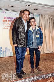 爾冬陞(左)監製、卓亦謙執導的電影《遺書》在大專組別中勝出,獲電影發展基金資助拍攝。(攝影:劉永銳)