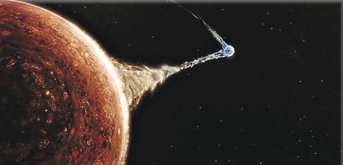內地科幻片《流浪地球》票房大賣。故事講述太陽系不再宜居,人類選擇最近太陽系的一顆恆星作新家園,但不願放棄地球。圖為人類以科技將地球推進至接近木星(左),以借助「引力彈弓」把地球推出太陽系,以減低能量消耗。(網上圖片)