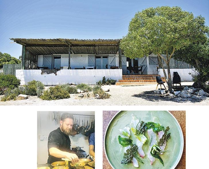 南非海邊餐廳Wolfgat(上圖)榮獲「世界餐廳大獎」。餐廳主理人范德梅韋(下左圖)稱其烹調哲學是盡可能保持原味,下右圖為餐廳其中一道菜。(網上圖片)