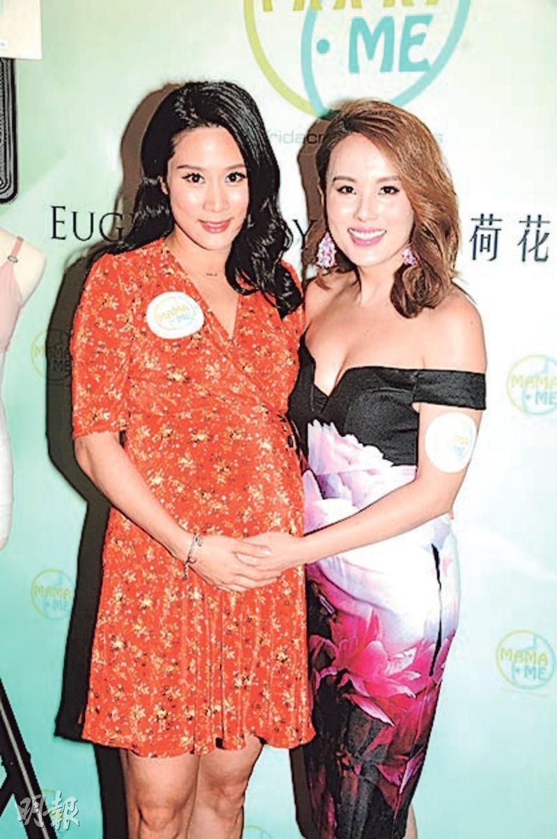 張嘉兒(左)挺巨肚與楊洛婷現身。(攝影:孫華中)