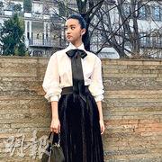 木村光希一身黑白打扮襯托馬尾長辮,高貴不失秀氣。