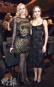 戴安古嘉(左)和尊尼狄普女兒莉莉露絲(右)同是Karl Lagerfeld的粉絲。(法新社)