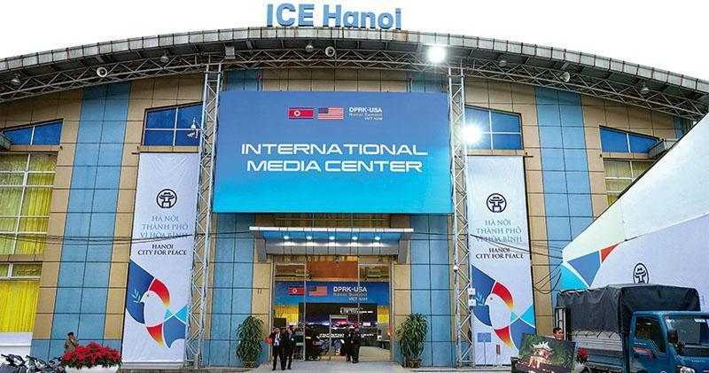 第2次特金會本周在越南河內舉行,越南政府設立國際媒體中心(圖)供各國傳媒使用,周日已有傳媒入內拍攝。(新華社)
