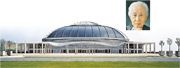 磯崎新(小圖)的代表作之一,是位於巴塞隆拿的1992年奧運重要場地「聖喬治宮體育館」。(網上圖片)
