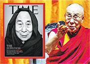達賴喇嘛日前接受美國《時代》(TIME)雜誌專訪(小圖),強調西藏600萬藏人信任自己,只有達賴喇嘛能代表600萬藏人,其他人都無法代表。(資料圖片)