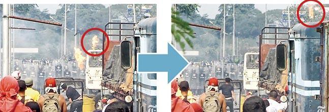 上月底有委內瑞拉反對派示威者在接壤哥倫比亞邊境的大橋與委國軍人對峙,其間載有救援物資的貨車起火。《紐時》引用片段稱是由反對派所擲的汽油彈引起火警。(網上圖片)