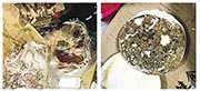 涉事學校食堂被查出的長滿霉菌的饅頭、冷凍變質的肉類、已經腐爛的水果及各式各樣的添加劑。(網上圖片)