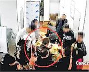 警方公布學校食堂庫房監控片段,指有家長擺拍假照片。(網上圖片)