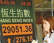 恒指昨收報29,051點,上升276點,成交金額1222億元,是3月8日以來最多。(中通社)