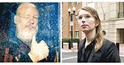 前美兵曼寧(右圖)2010年向「維基解密」提供國家機密文件,其間曾跟阿桑奇(左)聯絡,2013年被裁定違反間諜法罪成。(路透社)