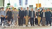 佔中9人張秀賢(前排左起)、鍾耀華、陳淑莊、朱耀明、陳健民、戴耀廷、黃浩銘、李永達及邵家臻。
