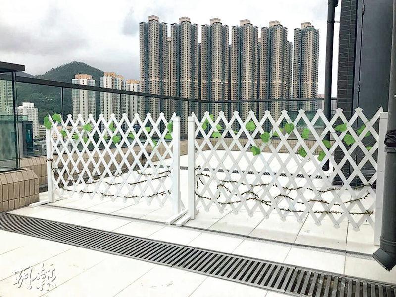 將軍澳藍塘傲天台戶﹕有住客於白線範圍內放置圍欄,分隔天台範圍。