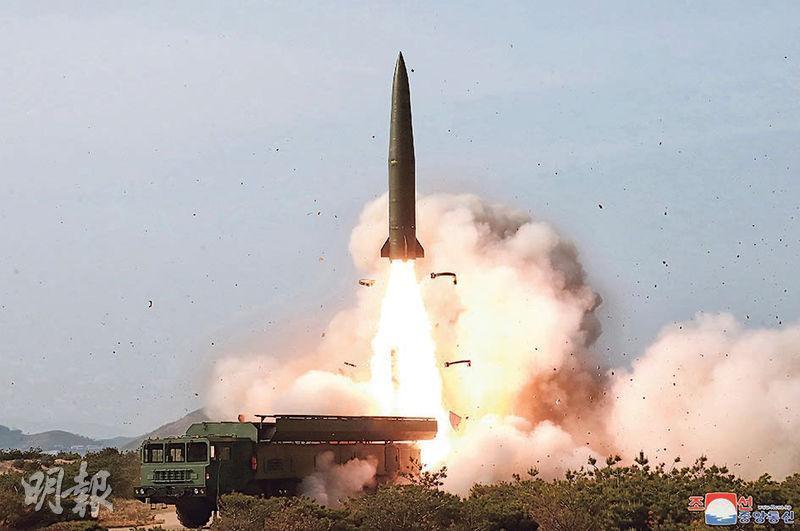 朝鮮發放上周六試射「戰術制導武器」的畫面。(路透社)