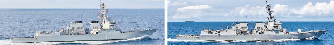 美軍伯克級導彈驅逐艦「普雷布爾」號(左)和「鐘雲」號(右)昨進入南沙南薰礁與赤瓜礁12海里內水域。(資料圖片)