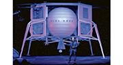 貝索斯周四展示旗下「藍色起源」(Blue Origin)的「藍月」(Blue Moon)月球着陸器,並闡述其殖民太空計劃。(法新社)