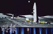 Space X創辦人馬斯克在2017年澳洲公布他的登陸火星計劃,其背後是送人上火星的超級火箭模擬圖。(法新社)