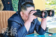 朝鮮官媒昨發布金正恩周四視察軍演的情况。美韓分析指,朝鮮當天發射了兩枚短程彈道導彈。(路透社)