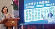 台灣總統蔡英文昨日舉行記者會,宣講自己執政3周年的政績。圖為蔡英文在展示台灣進步的十個關鍵詞。(中央社)
