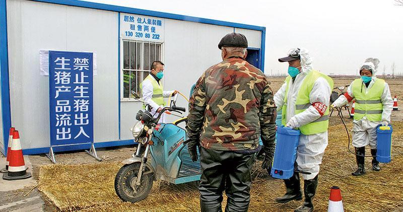 中國河北省保定市徐水區今年2月有防疫人員穿著防護裝備,在檢查站為一輛汽車消毒,當地有豬場確診有豬感染非洲豬瘟。(路透社)
