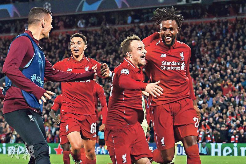 歐聯準決賽,利物浦前鋒奧利基( Divock Origi,右)和隊友沙奇里(Xherdan Shaqiri ,右二)在取得4-0戰果後慶祝。