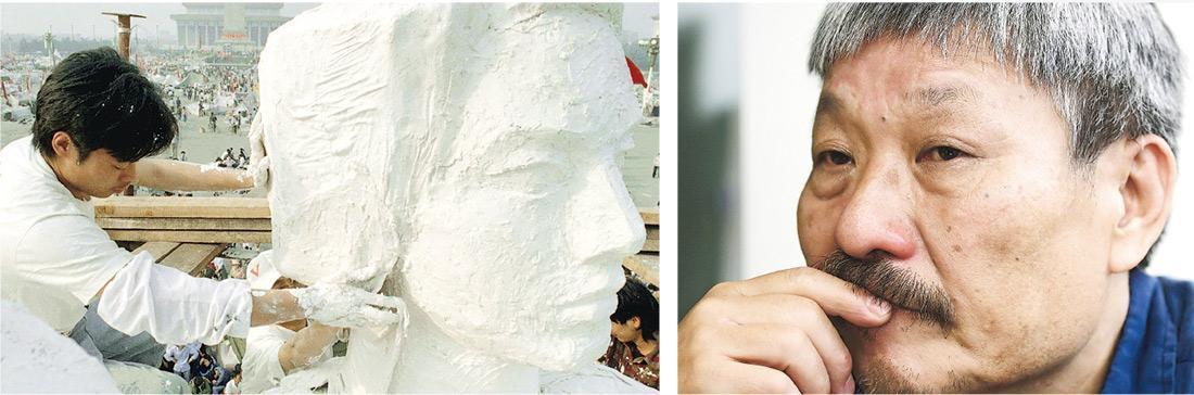 有份策劃重塑民主女神像的黃仁逵(右圖)說當年一呼百應,「倒一個,重塑一個,這是我們唯一可做之事」。29年來從不缺席六四晚會,到場時僅為留一口氣,點一盞燈,有沒有人,卻不由他。左圖為1989年5月30日,北京一名學生替民主女神像作最後修飾。(賴俊傑攝、資料圖片)