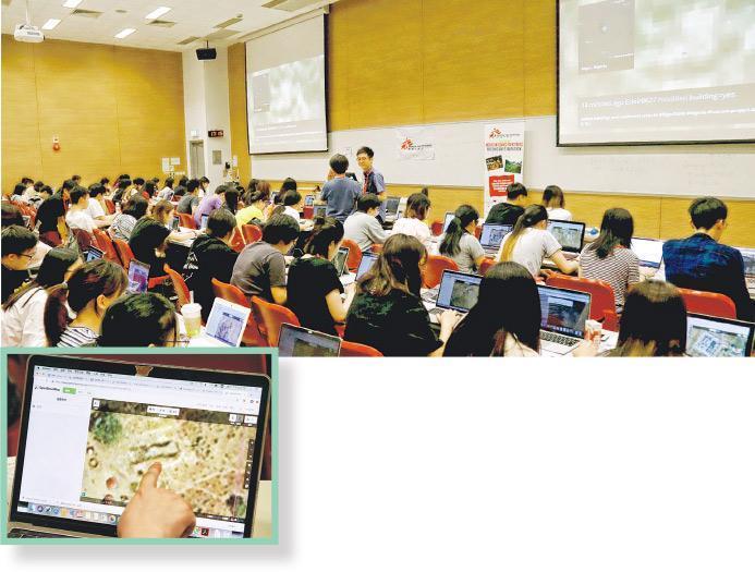 無國界醫生(香港)邀請大學師生及公眾義務參與繪製地圖,昨日約90名浸大及科大師生和公眾參與。上圖為他們需透過衛星圖片初步確認建築物位置(小圖),再經專家核對及現場實地考察,繪製成正式可使用的地圖。(無國界醫生(香港)提供)