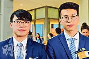 黃台仰(右)與李東昇(左)於當地時間6月4日,在德國柏林出席一政黨舉辦的六四30周年研討會,黃台仰以英語發言,8分鐘的開場發言談及六四、雨傘運動、DQ議員和《逃犯條例》,唯未提港獨。(楊康琪攝)