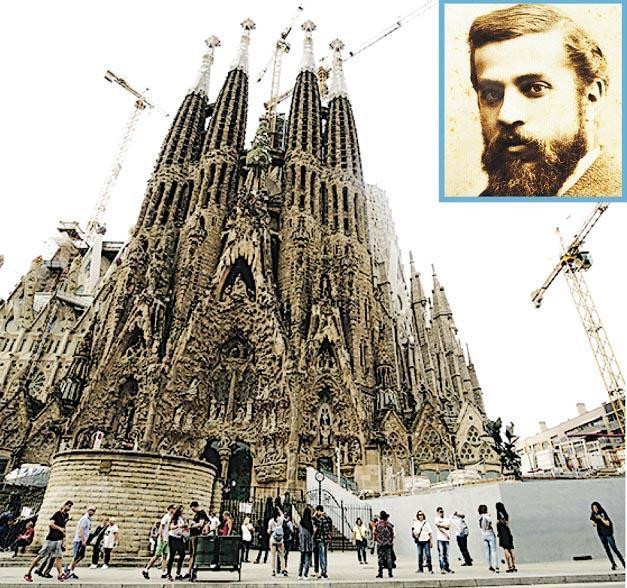 聖家堂是著名建築師高第(小圖)的傑作,建造逾百年仍未竣工,至今每年吸引數以百萬計遊客參觀。(法新社、網上圖片)