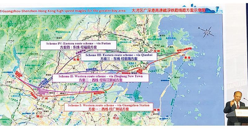 中國工程院副院長何華武昨在北京舉行的世界交通運輸大會上,介紹廣深港高速磁浮先行路段的4個方案,目前有關方面已展開可行研究。(網上圖片)