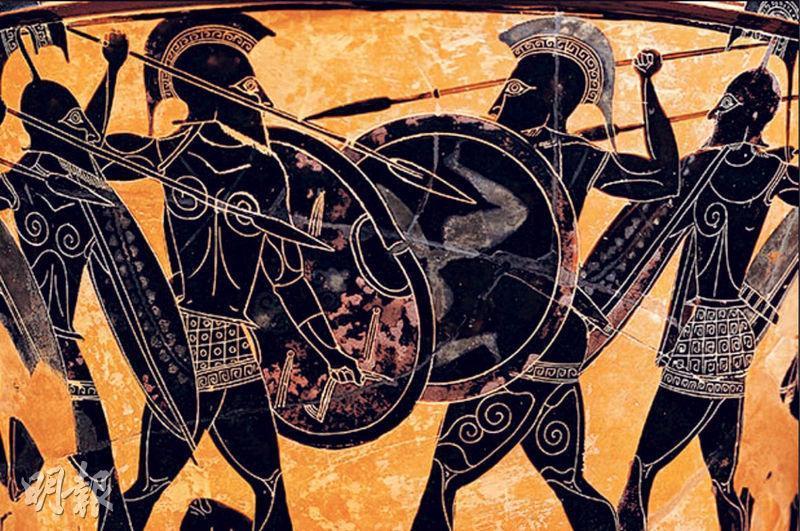 公元前五世紀,實力日漸壯大的雅典惹起斯巴達猜忌,終於觸發兩大聯盟爭戰。圖為描繪伯羅奔尼撒戰爭中雅典軍隊與斯巴達軍隊戰鬥的場景。(網上圖片)