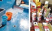 公安部將展開全國打擊黑心食品行動。圖為杭州警方破獲一宗假冒名酒案,製假分子在廁所做假酒。(網上圖片)