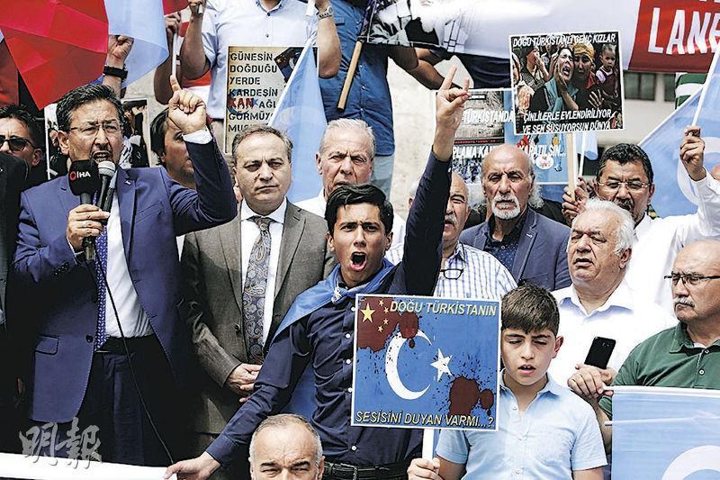 本月5日為新疆七五事件10周年,在土耳其首都安卡拉有維吾爾人示威,抗議中國政府打壓新疆維族人。(法新社)