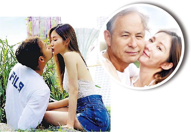 黃子菲(右)上載與楊政龍(左)甜蜜照,並宣布已懷孕。上圖的楊政龍做了「變老」效果。(網上圖片)