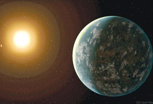 NASA的「凌日系外行星巡天衛星」發現3顆系外行星,其中GJ 357 d因於星系宜居帶外緣,溫度較適中,可能有液態水存在。圖為GJ 357 d的電腦構想圖。(網上圖片)