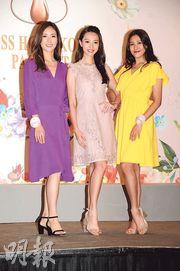 蔡嘉欣(左起)、黃嘉雯和姚羽嘉暫時成為最多話題的候選港姐。(攝影:孫華中)