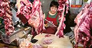 農業農村部昨表示,中國生豬生產將逐步恢復;又稱美國豬肉進口只佔國內豬肉產量的比重的0.16%,中美貿易戰對國內豬肉影響極微。圖為北京的一個肉檔。(法新社)