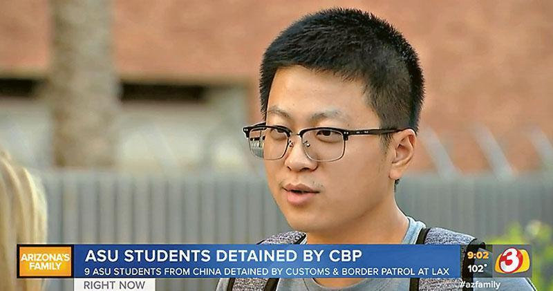 9名在美國亞利桑那州立大學(ASU)就讀的中國留學生,近期入境美國時在洛杉磯國際機場被關員扣留,並被要求自費回國。該校一名中國留學生昨接受當地傳媒訪問,對同學的遭遇表示關注。(網上圖片)